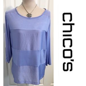 Chico's, Periwinkle, Blocked Fabric Texture Top